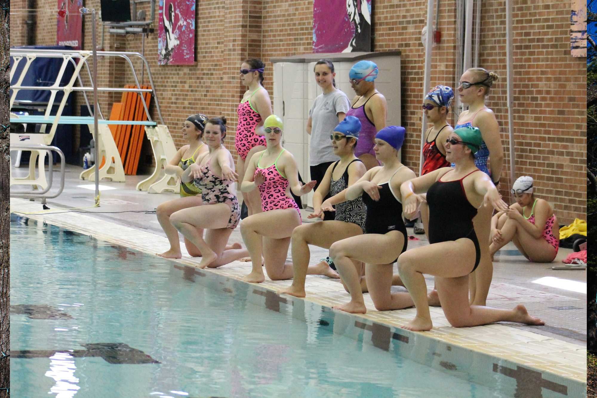 The Illini synchronized swimming club practices a routine titled