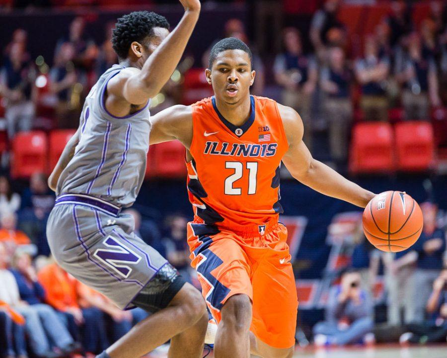 Illinois%27+Malcolm+Hill+%2821%29+drives+to+the+basket+during+the+game+against+Northwestern+at+State+Farm+Center+on+Tuesday%2C+February+21.
