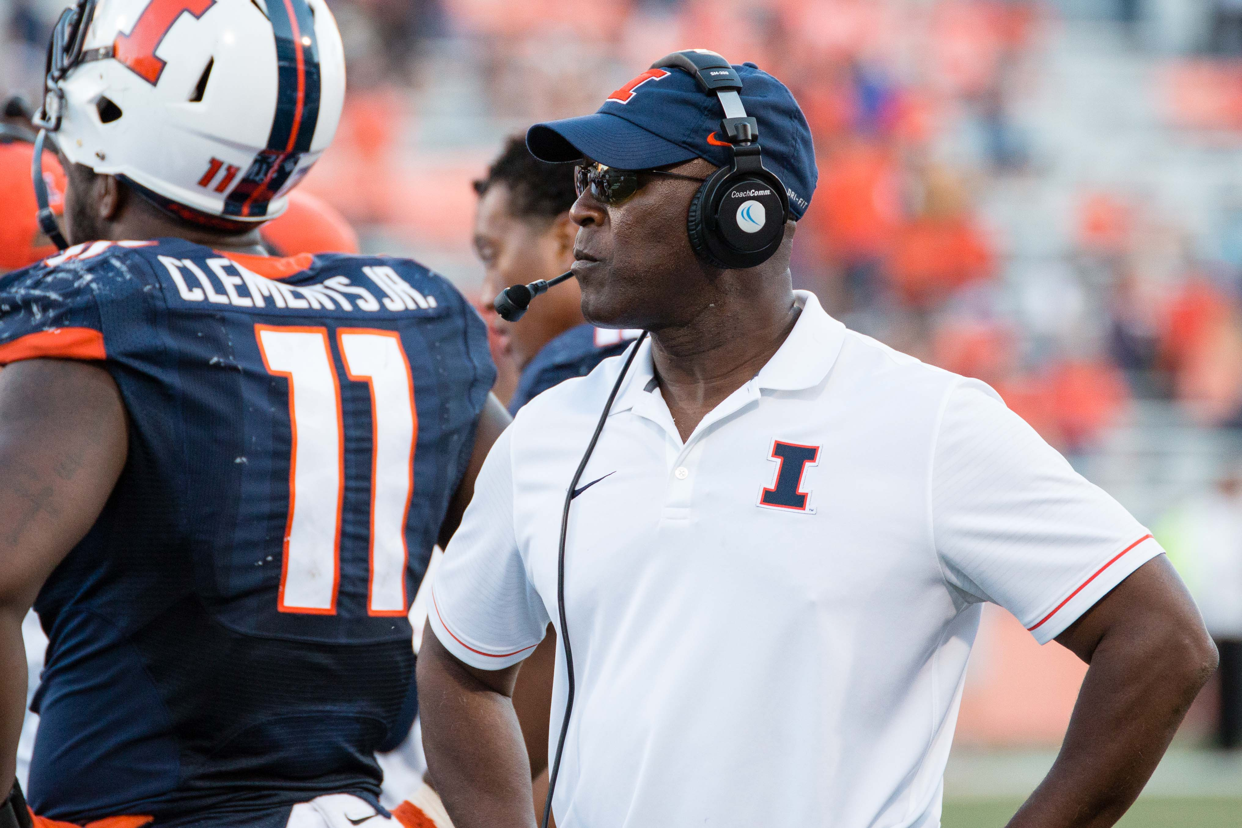 Illinois head coach Lovie Smith walks down the sideline during a timeout in the the game against Western Michigan at Memorial Stadium on Saturday, September 17.  Smith made his first signing of the class of 2018, Peoria Quarterback and three-star recruit Coran Taylor, Monday.