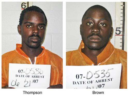Seen in June 21 booking photos provided by the Illinois State Police are William B. Thompson, 26, left, and Yusef Kareem Brown, 23, both from Chicago. Thompson and Brown, charged with a combined 48 counts, pleaded not guilty on Friday. The Associated Press