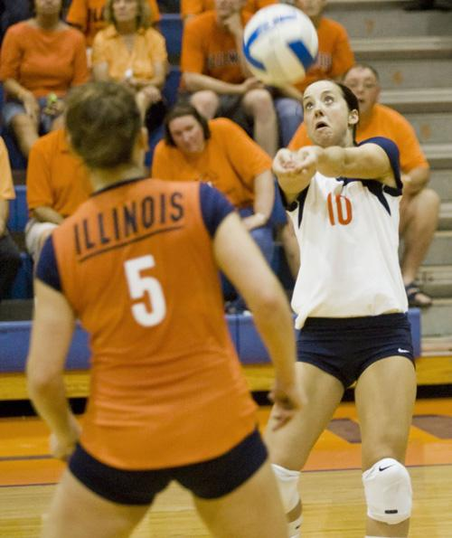 Kristine Anderson hits the ball against Marquette at Huff Hall on Sept. 7. The Illini, now 2-2 in Big Ten play, will host the Indiana Hoosiers on Friday before facing the Purdue Boilermakers at Huff Hall on Monday. Erica Magda