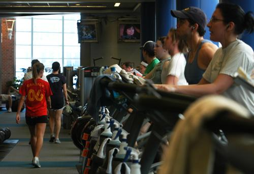 Students work out at Campus Recreation Center East, more commonly known as CRCE, on April 20, 2007.