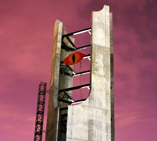 A replica of the Eye of Sauron hangs from beams on the McFarland Memorial Bell Tower early Sunday morning. Trevor Greene