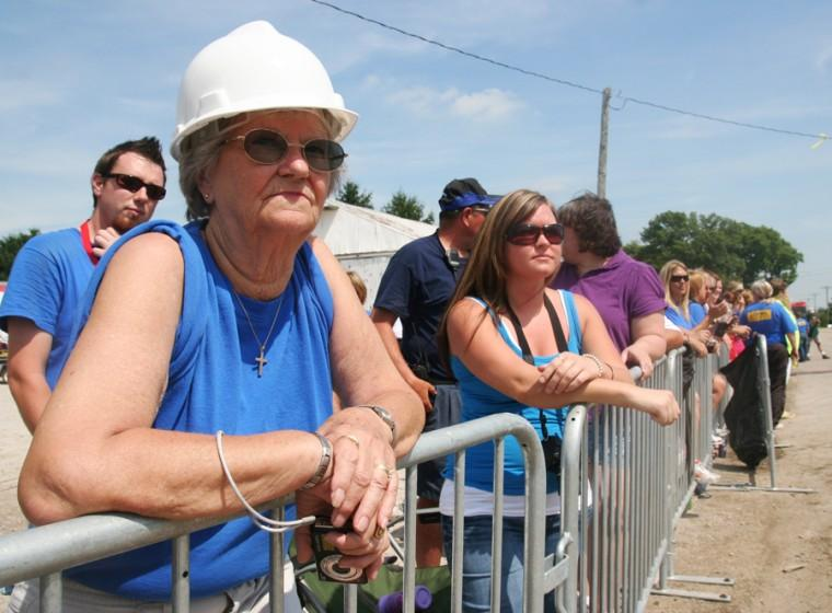 Larraine Cox of Tolono, IL watches the filming of Extreme Makeover: Home Edition on August 25, 2009 in Philo, IL. Cox lived in Philo for 22 years before moving to Tolono.