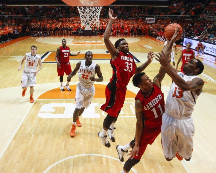 Illinois%27+Tracy+Abrams+%2813%29+shoots+the+ball+during+the+game+against+Jacksonville+State+at+the+State+Farm+Center+on+Sunday%2C+Nov.+10%2C+2013.+The+Illini+won%2C+86-62.