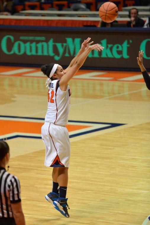 Illinois' Amber Moore shoots the ball during the game against Alcorn State at State Farm Center in Champaign on Sunday. The Illini won 112-28.