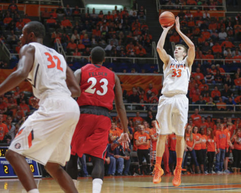 Illinois' Jon Ekey (33) shoots the ball during the game against Jacksonville State at the State Farm Center on Sunday, Nov. 10, 2013. The Illini won, 86-62.