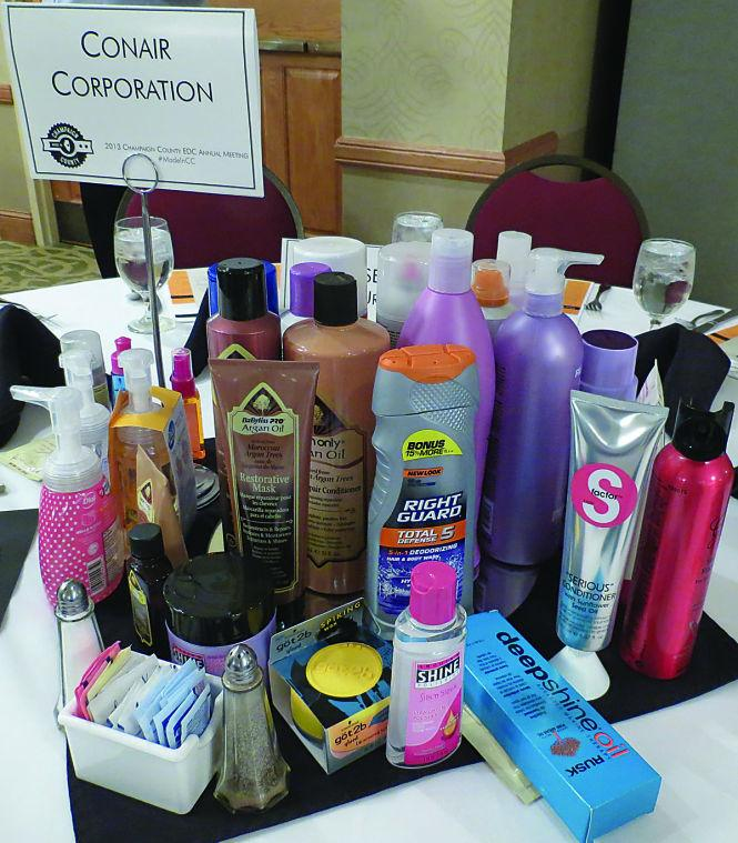 Conair+showcases+their+line+of+products+at+the+annual+Economic+Development+Corporation+meeting+at+Hawthorn+Suites+on+Thursday.