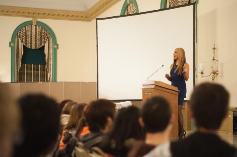 "Laverne Cox talks about her life experience as a transgender woman at the Illini Union Ballroom on Tuesday. Laverne Cox also plays a transgender woman on the Netflix series, ""Orange is the New Black."""