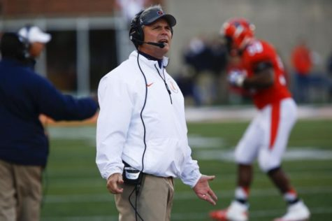 Illinois' head coach Tim Beckman reacts to a holding call during the homecoming game against Michigan State at Memorial Stadium in Champaign, Ill. on Oct. 27. The Illini lost 42-3.