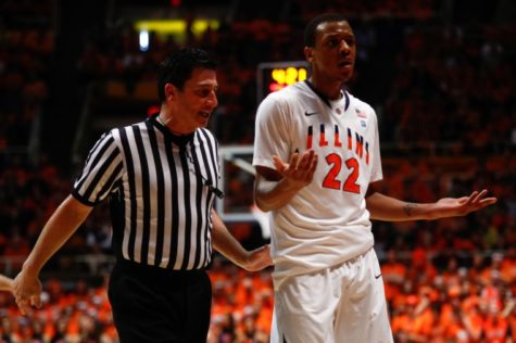 Illinois' Jereme Richmond (22) questions of referee's foul call during the basketball game against Purdue at the Assembly Hall on Feb. 13, 2011.