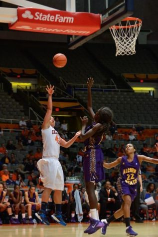 Illinois' Amber Moore shoots the ball during the game against Alcorn State at State Farm Center in Champaign, Ill. on Sunday. The Illini won, 112-28.