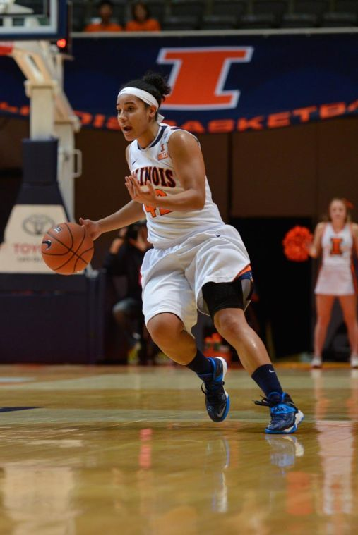 Illinois' Amber Moore dribbles the ball during the game against Alcorn State at State Farm Center on Sunday.