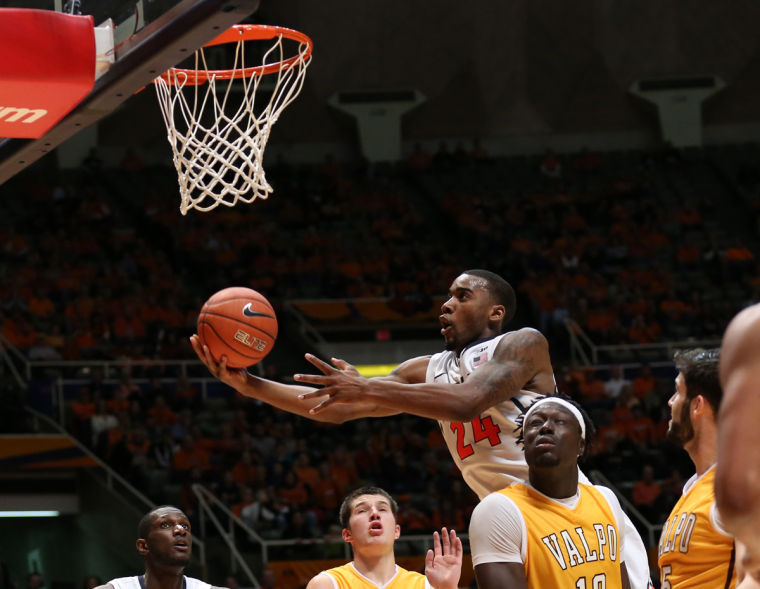 Illinois' Rayvonte Rice (24) attempts a layup during the game against Valparaiso at State Farm Center, on Wednesday, Nov. 13, 2013. The Illini won 64-52.