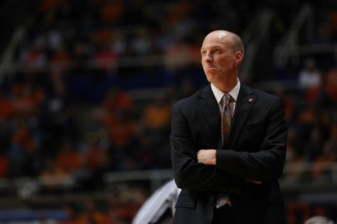 Illinois head coach John Groce looks up towards the score board during the game against Chicago State at State Farm Center, on Friday, Nov. 22, 2013.