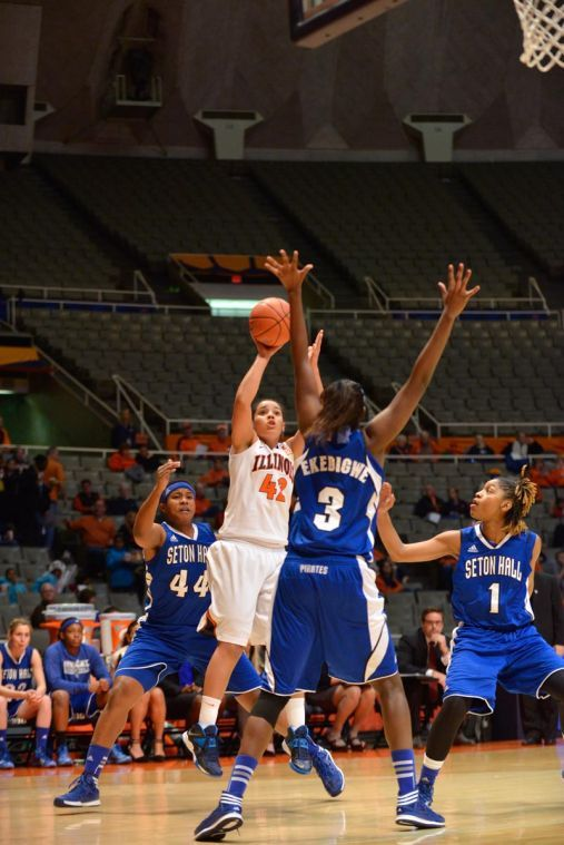 Illinois' Amber Moore shoots the ball during the game against Seton Hall on Monday. The Illini won 71-70.