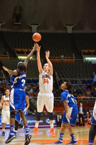 Illinois' Jacqui Grant shoots the ball during the game against Seton Hall at State Farm Center on Monday. The Illini won 71-70.
