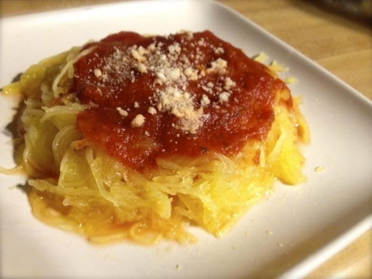 Topped with marinara sauce and parmesan cheese, spaghetti squash contains a quarter of the calories of its pasta counterpart.