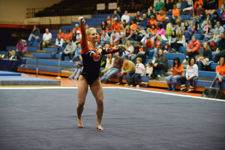 Illinois%27+Erin+Buchanan+performs+the+floor+routine+during+the+meet+against+Centenary+and+Wisconsin-Eau+Claire+at+Huff+Hall+on+Jan.+18.+The+Illini+won+with+196.175+points.