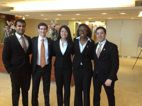 Saajan Patel, left, Michael Bosworth, Naomi Liu, Jasmine Joda and Joshua Wolken pose for a photo after competing in the PricewaterhouseCoopers' annual accounting challenge in New York City.