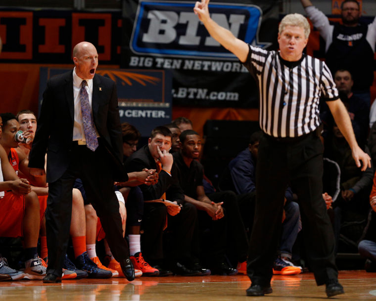 Illinois' head coach John Groce reacts to a call during the game against Michigan State at State Farm Center on Saturday, Jan. 18, 2014. The Illini lost, 78-62.