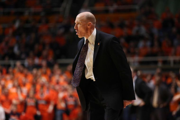 Illinois%E2%80%99+John+Groce+reacts+to+a+call+from+the+referee+during+the+game+against+Michigan+State+at+State+Farm+Center%2C+on+Jan.+18%2C+2014.+The+Illini+lost%2C+78-62.