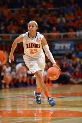 Illinois' Alexis Smith drives the ball down the court during the game against Nebraska at State Farm Center on Jan. 12. The Illini lost 75-56.