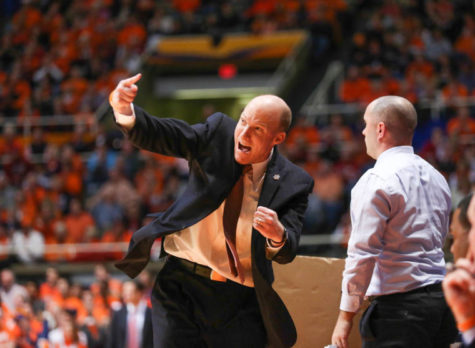 Illinois' head coach John Groce instructs his team from the sideline during the game against Indiana at State Farm Center, on Tuesday, Dec. 31, 2013. The Illini won 83-80.