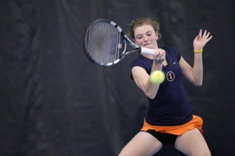 Illinois Alexis Casati returns the ball during the Illini's competition against Texas Christian University at Atkins Tennis Center, on Sunday. The Illini won 5-1.