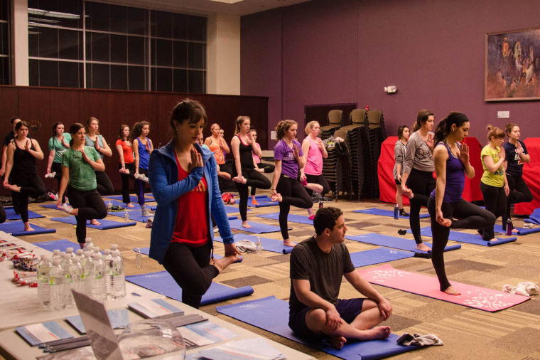 For Gene Week, Sigma Delta Tau sponsored a free yoga class at the Illini Hillel house Wednesday night. The first 60 people that walked in the door received a free yoga mat.