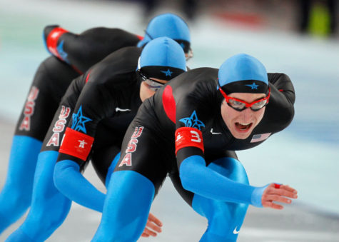 United States Jonathan Kuck (3) leads the US Pursuit Team in the men's team pursuit finals during the 2010 Winter Olympics in Vancouver, British Columbia, Saturday, February 27, 2010. The United States finished in second place to win the Silver Medal.