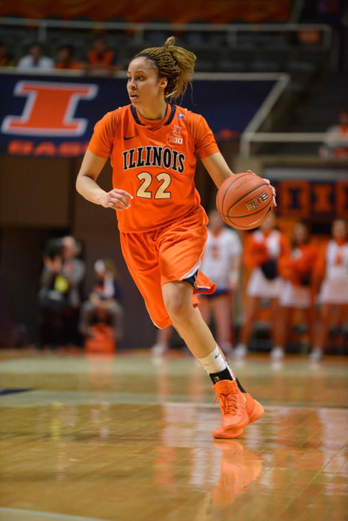 Illinois' Ivory Crawford dribbles the ball during the game against Michigan State at State Farm Center on Wednesday. The Illini lost 69-53.