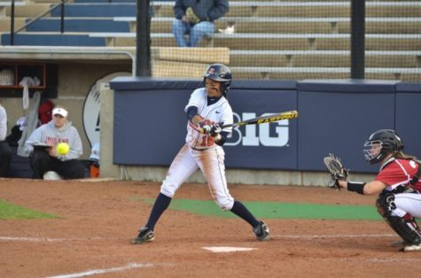 Alex Booker (15) bats during the second game of a double header against Indiana on Saturday at Eichelberger Field. The Illini won 1-0.