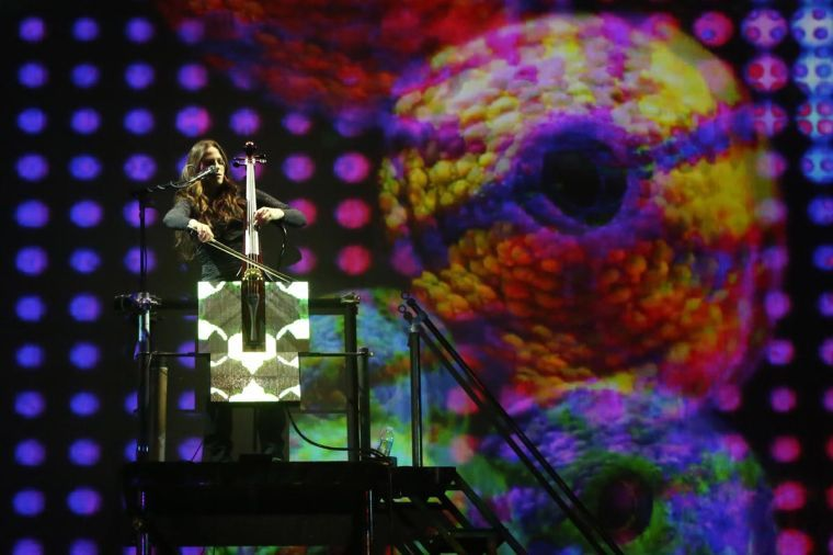 """Cellist Maya Beiser performs """"Room No. 35"""" of the Labyrinth Installation Concertos, which premiered Saturday. She plays a sculpture interactive LED cello specially made for the installation."""