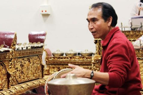 I Ketut Gede Asnawa, professor in the School of Music, leads a gamelan ensemble Feb. 3 in the Music Building. The ensemble meets every Monday and welcomes community members to participate.