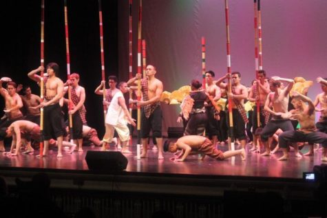 Battle of the Bamboo performers dance during Filipino Culture Night at Lincoln Hall Theater on Saturday night.