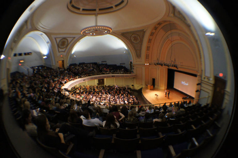 """Frank Warren, author of the New York Times' best seller, """"PostSecret: Confessions on Life, Death, and God"""", presented a multimedia presentation at the Foellinger Auditorium on Nov. 5."""