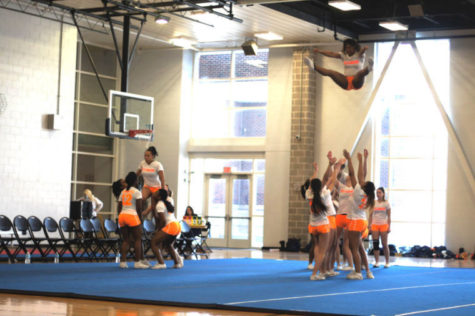The Illinois stunt and tumble team performs Sunday at the ARC. The team won its two competitions against Northern Illinois and lost its two against Michigan State.