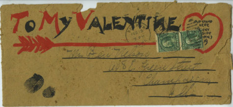 An envelope addressed to Benjamin Nelson on Feb. 13, 1909, containing a Valentine's Day greeting.