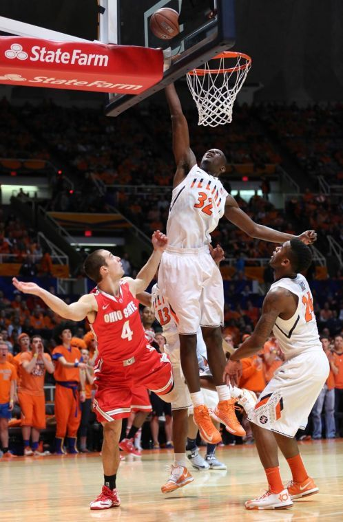 Illinois%27+Nnanna+Egwu+pins+an+Aaron+Craft+layup+against+the+backboard+during+the+game+against+No.+22+Ohio+State+at+State+Farm+Center+on+Feb.+15.+Egwu+has+proven+his+worth+in+recent+games.