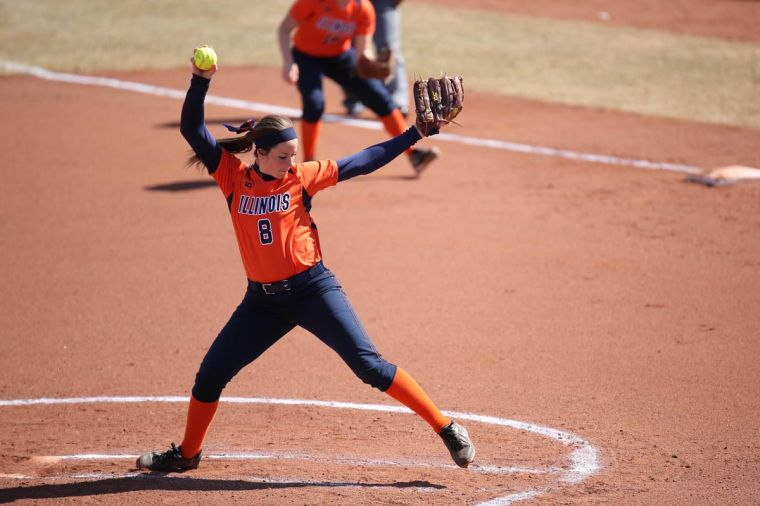 Illinois' Brandi Needham pitches the ball during the match against Omaha at Eichelberger Field, on Saturday. The Illini won 6-1.