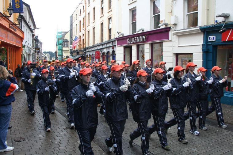 The Marching Illini wear their warm-up suits and march down the streets of Dublin, Ireland in the St. Patrick's Parade in 2008. On Monday, the Marching Illini will perform in the parade for the seventh time since 1992.