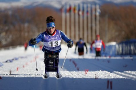 Paralympic Tatyana McFadden completes the home stretch of a race, Jan. 4, 2014, during the U.S. Paralympics Nordic Skiing National Championship at Solider Hollow Resort in Midway, Utah.