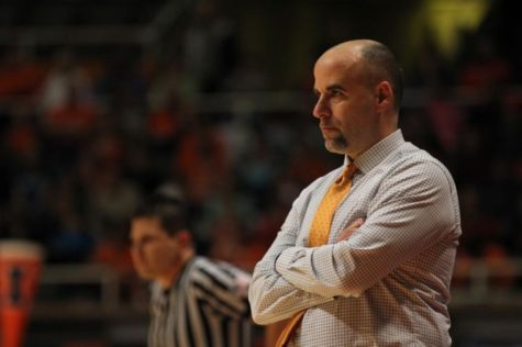 Illinois' head coach Matt Bollant looks toward his players during the Illini's loss to Michigan State at Assembly Hall, on Sunday, Jan. 13th, 2013.