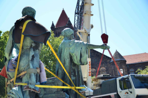 The Alma Mater gets prepped for its journey to Forest Park, Ill., on Aug. 6, 2012, where it will be restored for the next nine months.