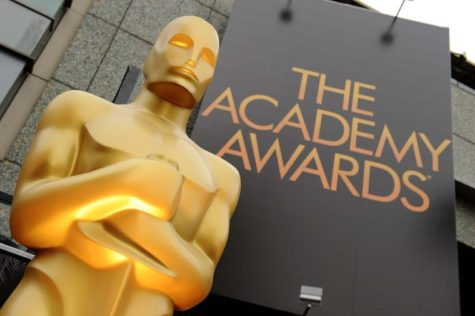 A view of an Oscar statue outside the 84th Annual Academy Awards show at the Hollywood and Highland Center in Los Angeles, Calif., on Sunday, February 26, 2012.
