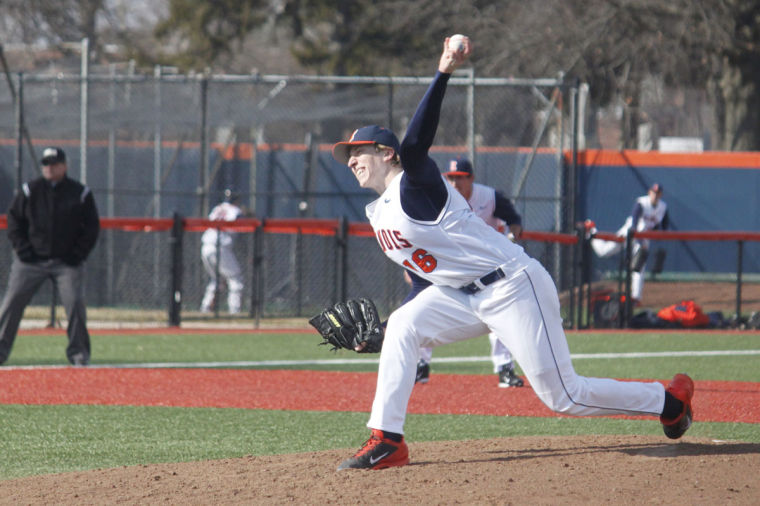 Illinois' Rob McDonnell pitches the ball during the game against Indiana State at Illinois Field, on Tuesday, Mar. 18. The Illini won 8-0.