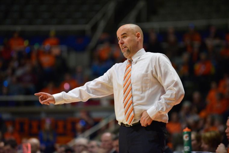 Illinois%27+head+coach+Matt+Bollant+during+the+game+against+Nebraska+at+State+Farm+Center+on+Sunday%2C+Jan.+12%2C+2014.+The+Illini+lost+75-56.