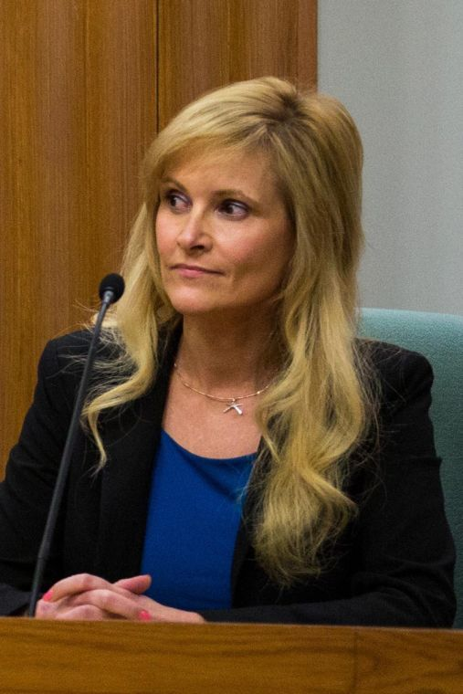 Ann Callis speaks at a public forum held for candidates for Congressional representation of the 13th district of Illinois on Feb. 20 at Champaign City Council chambers.