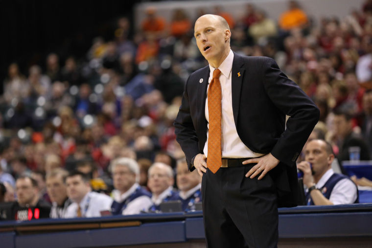 Illinois%27+head+coach+John+Groce+reacts+to+a+referee%27s+call+during+the+first+round+game+of+the+Big+Ten+Men%27s+Basketball+Tournament+against+Indiana+at+Banker%27s+Life+Fieldhouse%2C+on+Thursday%2C+Mar.+13%2C+2014+The+Illini+won+64-54.
